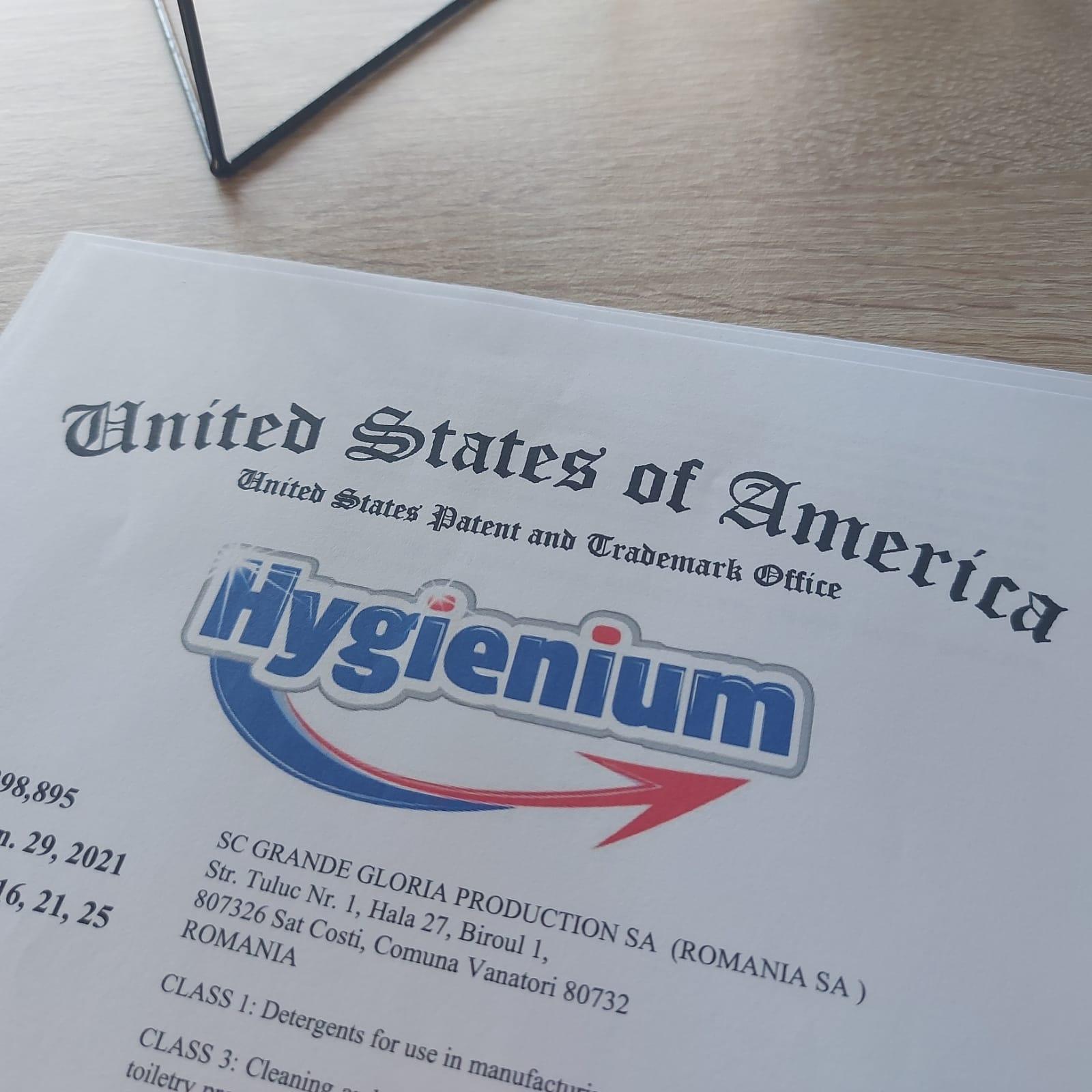 Hygienium, marcă înregistrată în Statele Unite ale Americii