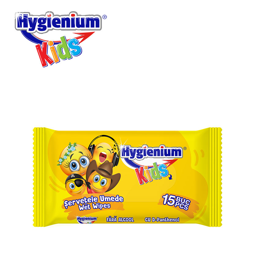 Hygienium Kids Servetele Umede Smiley Face 15 Pcs